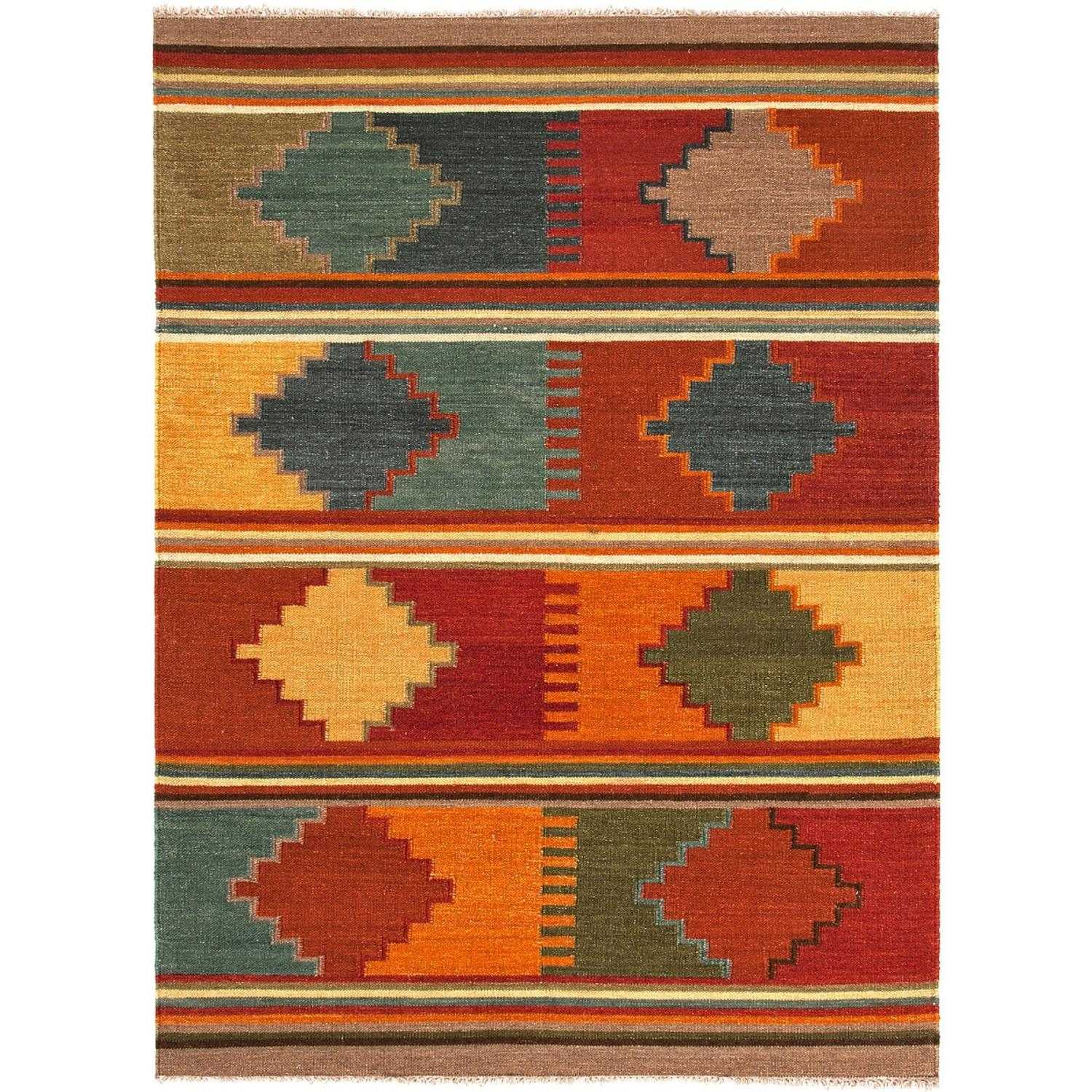 5' x 8' Multi-Color Byzantium Flat Weave Hand Woven Wool Area Throw Rug