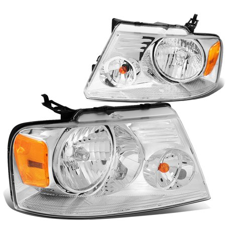 For 2004 to 2008 Ford F150 11th Gen Chrome Housing Amber Corner Headlight Headlamp 05 06 07 Left+Right