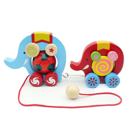 Staron Adorable Elephant Wooden Push & Pull Along Toy for Baby Sturdy String Attached to Animal Classic Developmental Toy for 1 & 2 Year Old Boys & (Plan Toys Preschool Dancing Alligator Pull Along Toy)