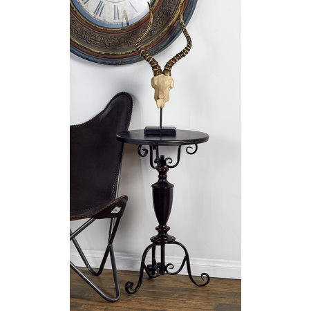 Decmode 29 X 17 Inch Farmhouse Wrought Metal Round Accent Table, Brown ()