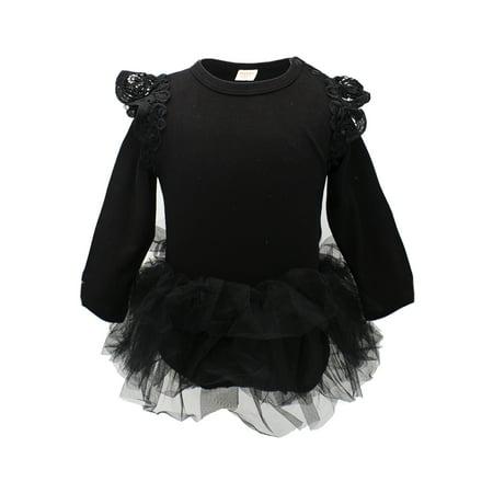 StylesILove Baby Girl Long Sleeve Ruffle Cotton Romper with Tulle Tutu Skirt (80/6-12 - Tutu Stores