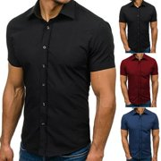 SUNSIOM Mens Short Sleeve Button Down T-shirt Tops Slim Fit Casual Dress Stylish Shirts