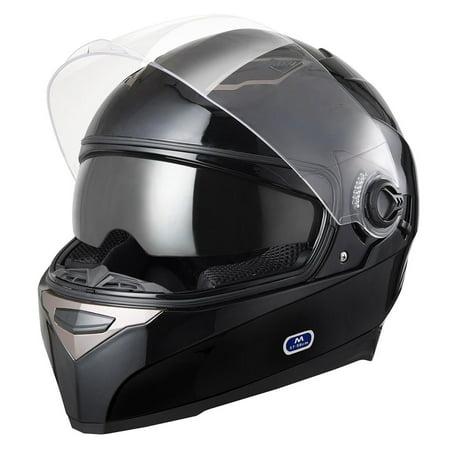 Yescom DOT Full Face Motorcycle Helmet Dual Visors Sun Shield Lightweight ABS Air Vent Motorbike Touring Black