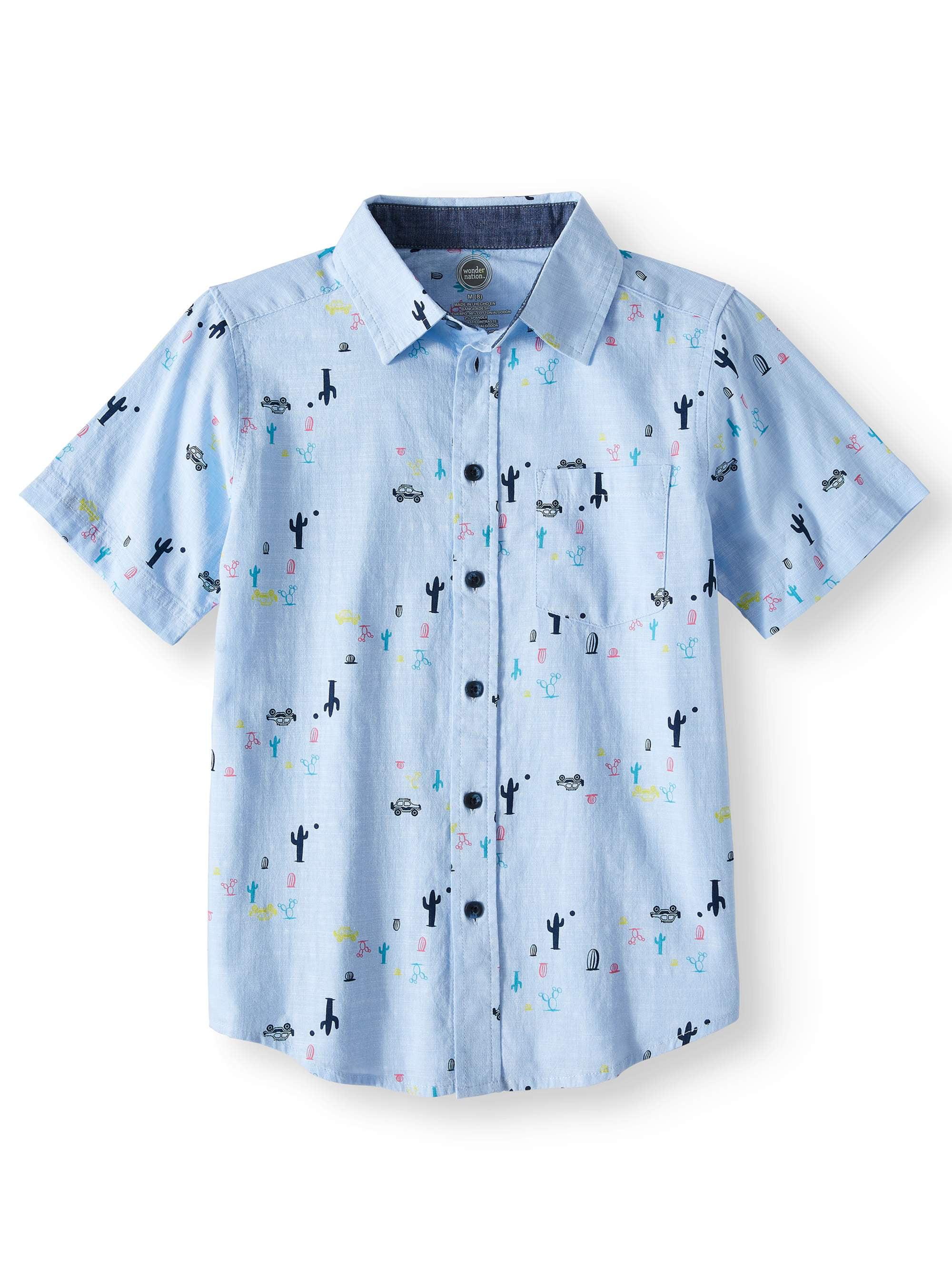 Short Sleeve Stretch Button Up Printed Shirt (Little Boys, Big Boys, & Husky)