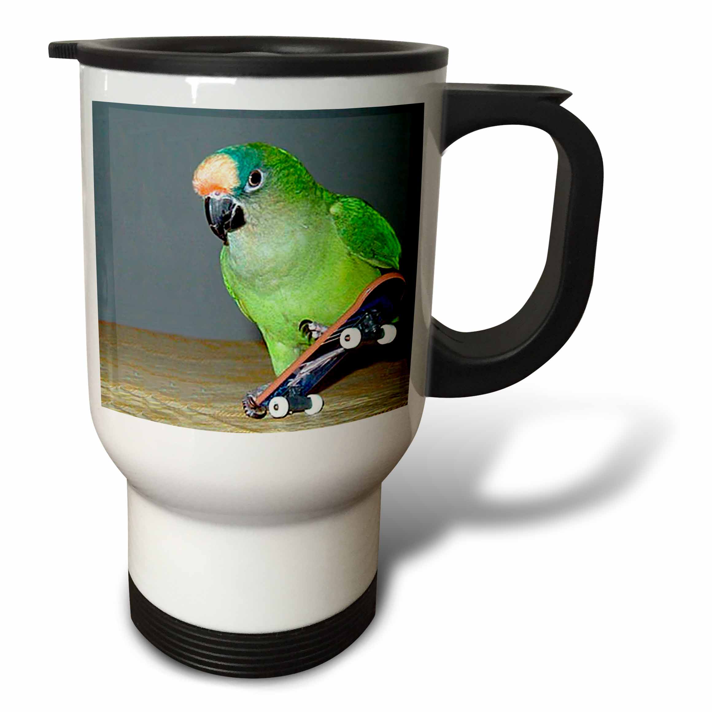 3dRose Skateboard Conure, Travel Mug, 14oz, Stainless Steel by 3dRose