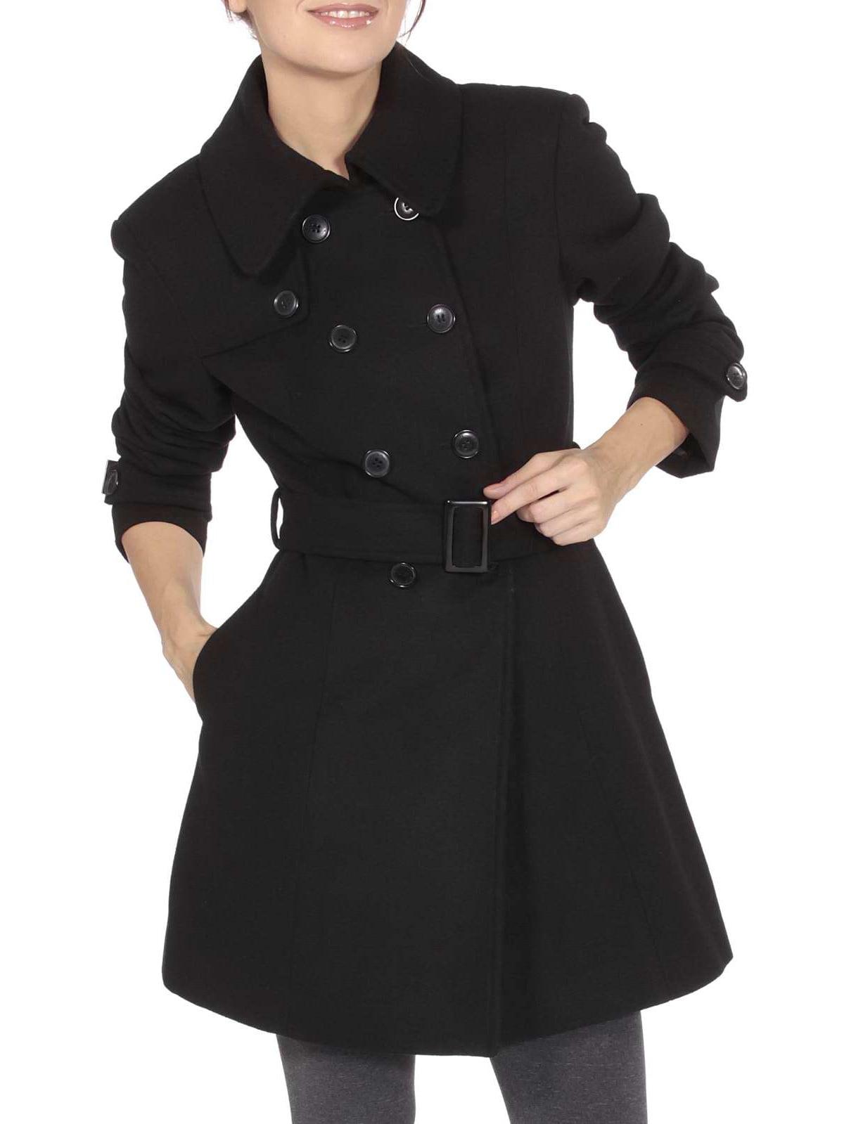 9756050ee3 Alpine Swiss - Keira Women s Trench Coat Double Breasted Wool Jacket Belted  Blazer Black Large - Walmart.com