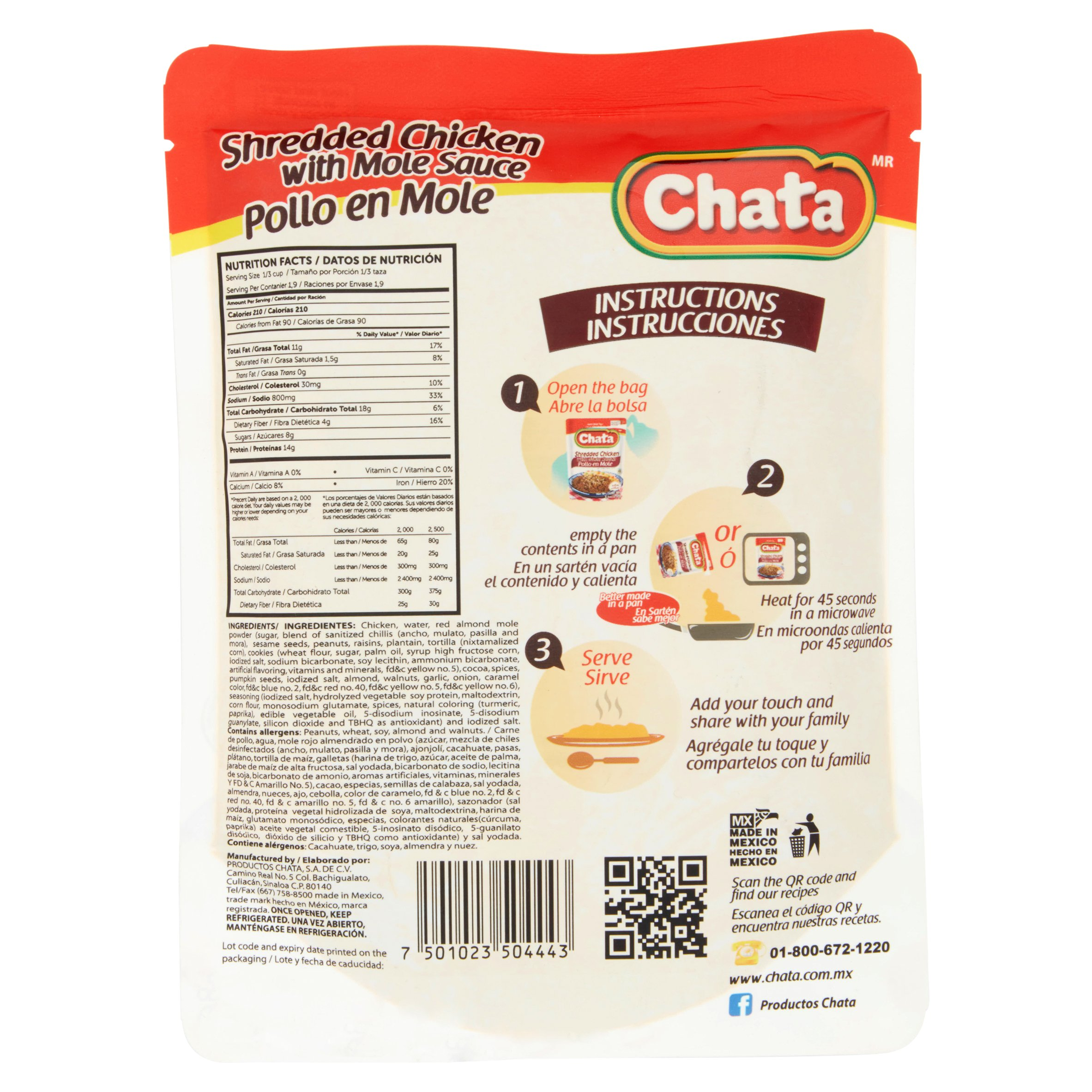 Chata Shredded Chicken with Mole Sauce, 8 8 oz