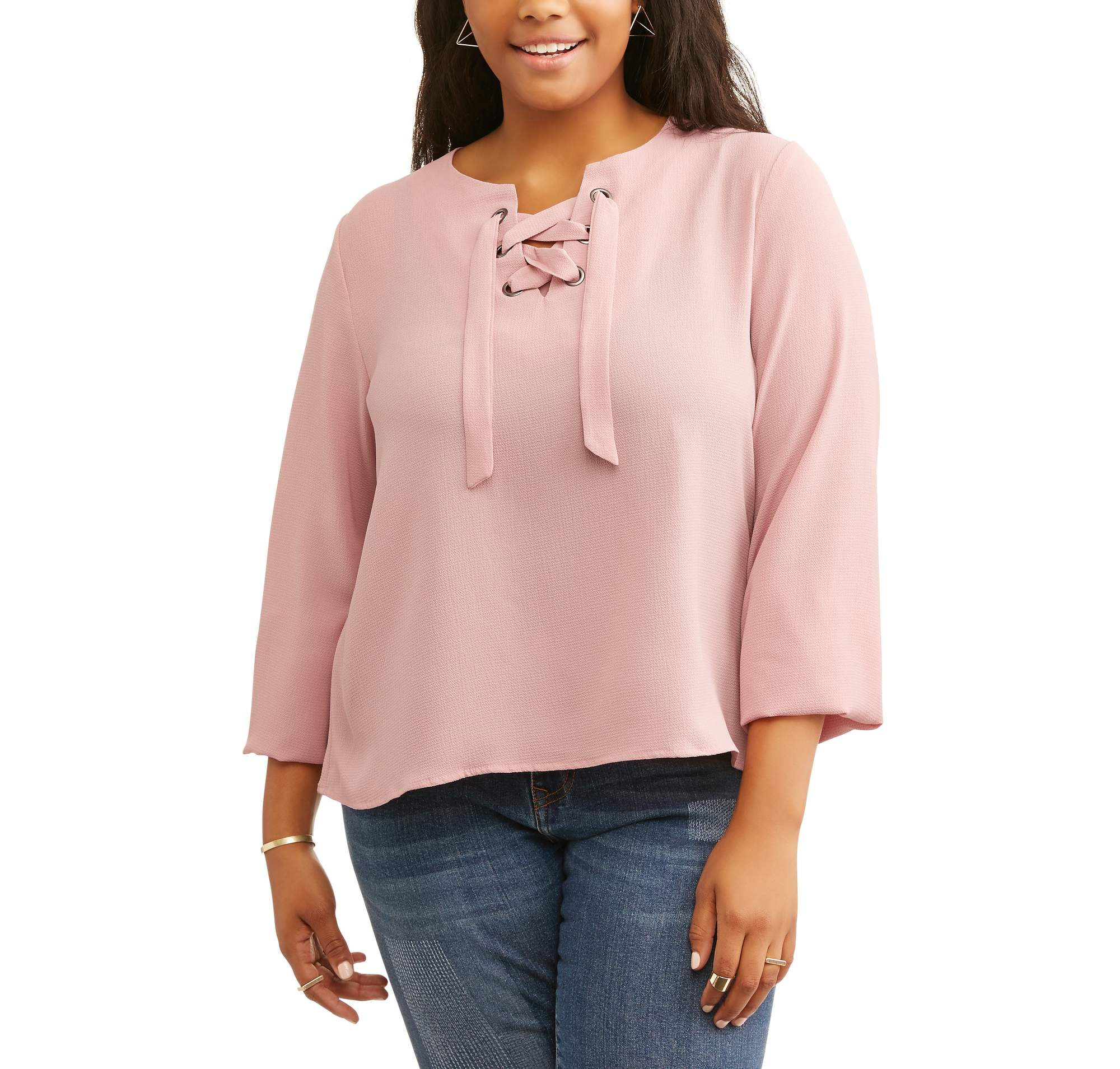 Juniors' Plus Long Sleeve Lace Up Woven Top With Grommet Detail