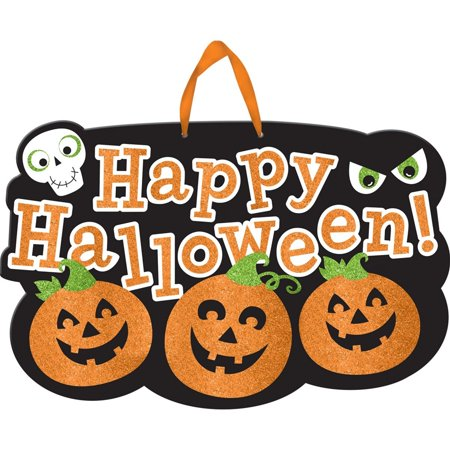 Large Happy Halloween Glitter Sign