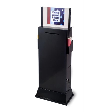 Sign Box Set (Displays2go Steel Floor-Standing Ballot Box with Acrylic 17 by 11 Inch Sign Frame, Two Brochure Pockets -)