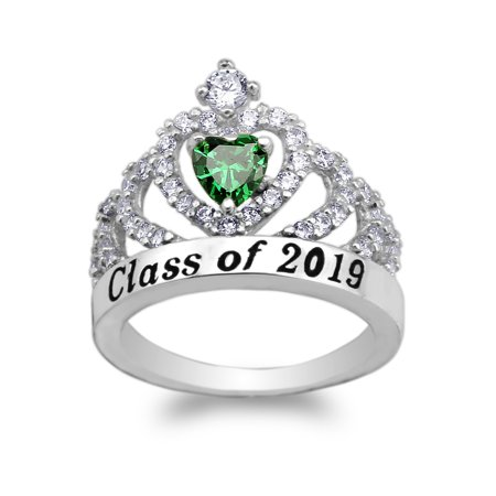 JamesJenny 925 Sterling Silver School Class of 2019 Graduation Green 0.5ct Heart CZ Ring Size (Green Cubic Zirconia Heart)