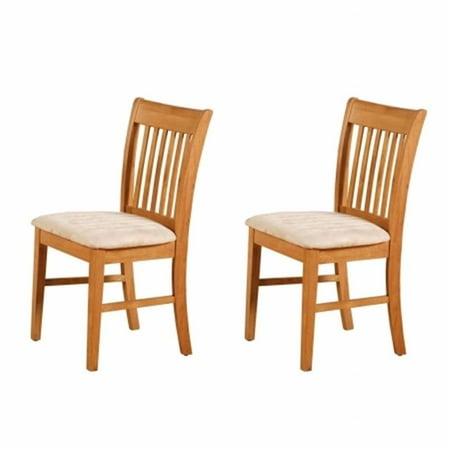 Oak Hall Seat - East West NFC-OAK-C Norfolk Chair Upholstered Seat -Oak Finish., Oak - Pack of 2