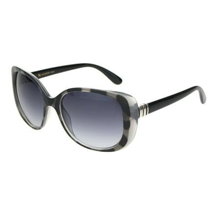 Womens Designer Fashion Thick Plastic Butterfly Sunglasses Grey Tortoise Gradient Black