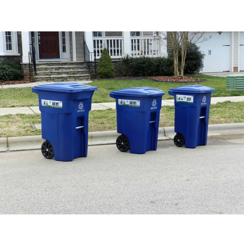 Toter 32 Gallon Cart Garbage Bin Trash Can Blue Storage 2 Wheel