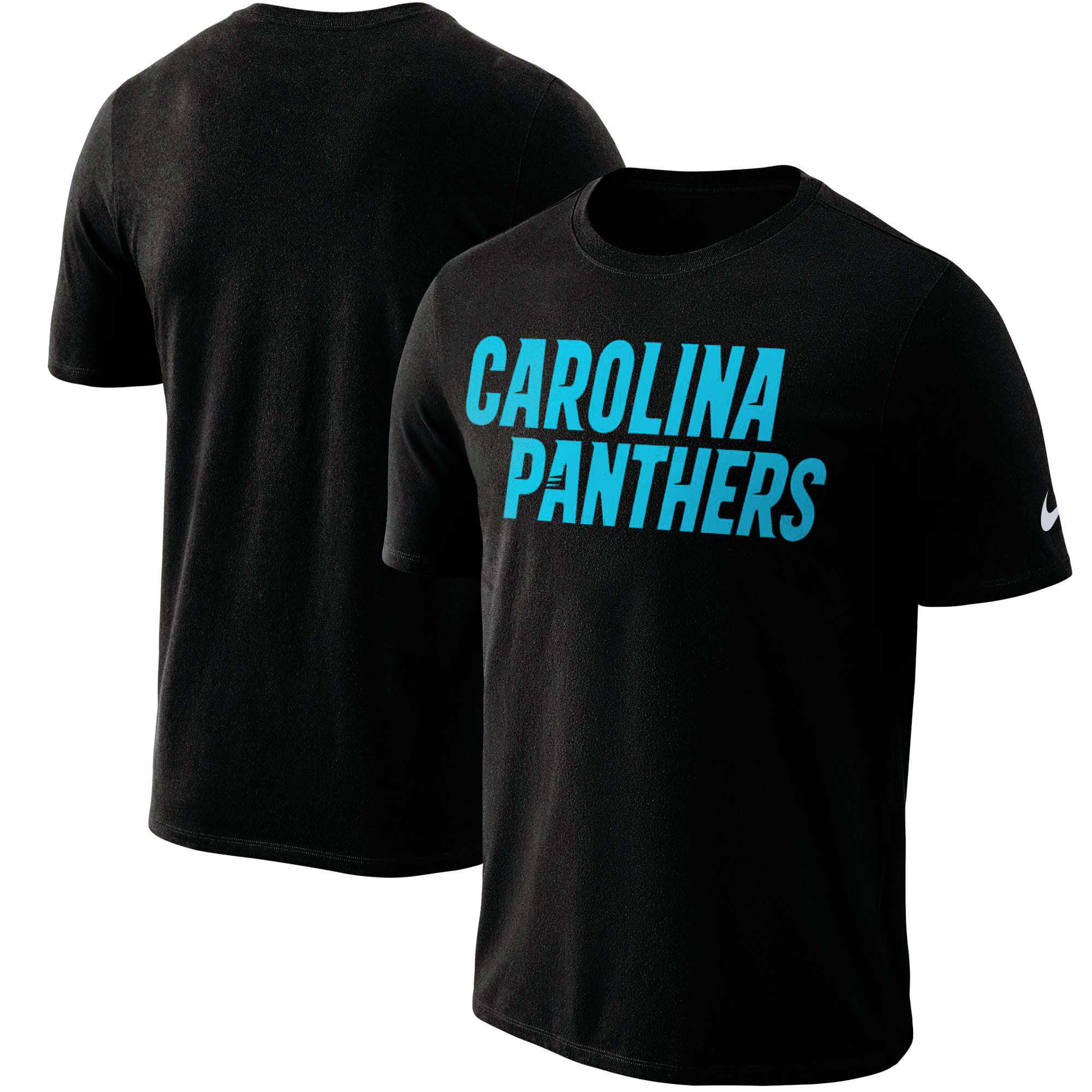Carolina Panthers Nike Dri-FIT Cotton Essential Wordmark T-Shirt - Black