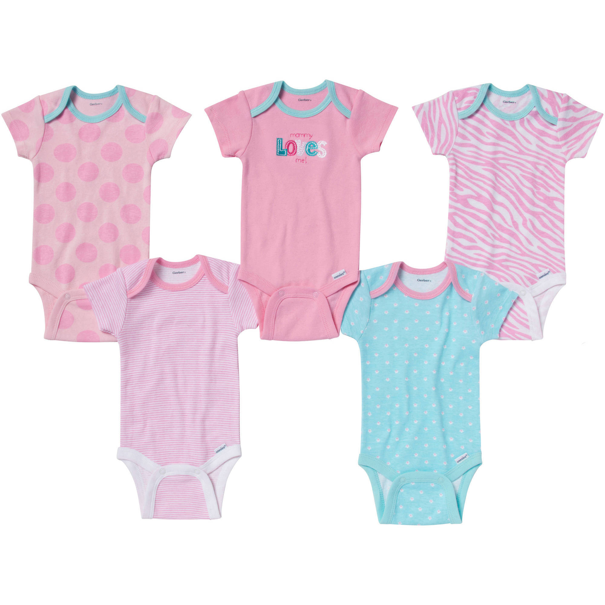 Gerber Onesies Brand Newborn Girl 5-Pack Assorted Short Sleeve One Piece Underwear