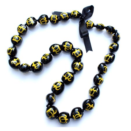 Hawaii Black Kukui Nut Leis with Yellow Turtle Necklace