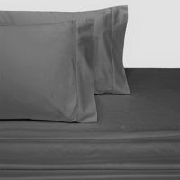 100% Long-Staple Cotton Sateen Sheets 300TC Solid Bed Sheet Set - Queen-Gray