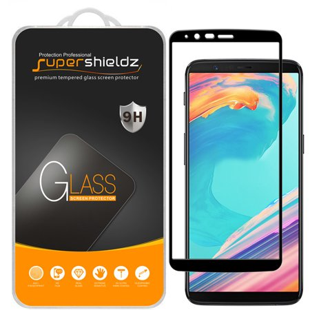 [2-Pack] Supershieldz for OnePlus 5T [Full Screen Coverage] Tempered Glass Screen Protector, Anti-Scratch, Anti-Fingerprint, Bubble Free (Black Frame)