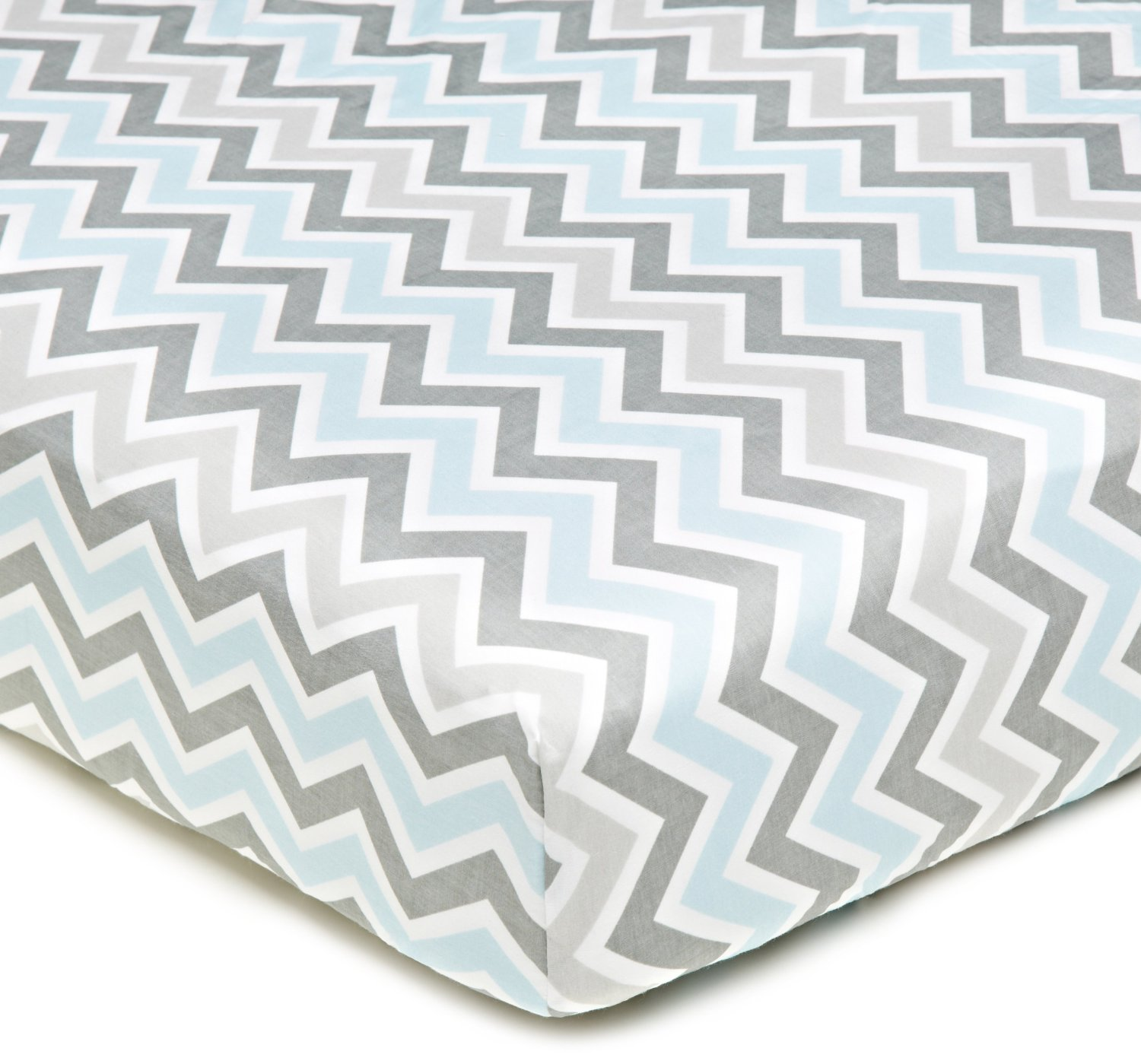 American Baby Company 1% Cotton Percale Crib Sheet - Gray Blue Zigzag
