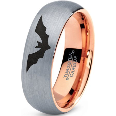 Tungsten Bat Spread Wings Band Ring 7mm Men Women Comfort Fit 18k Rose Gold Dome Brushed Gray Polished ()