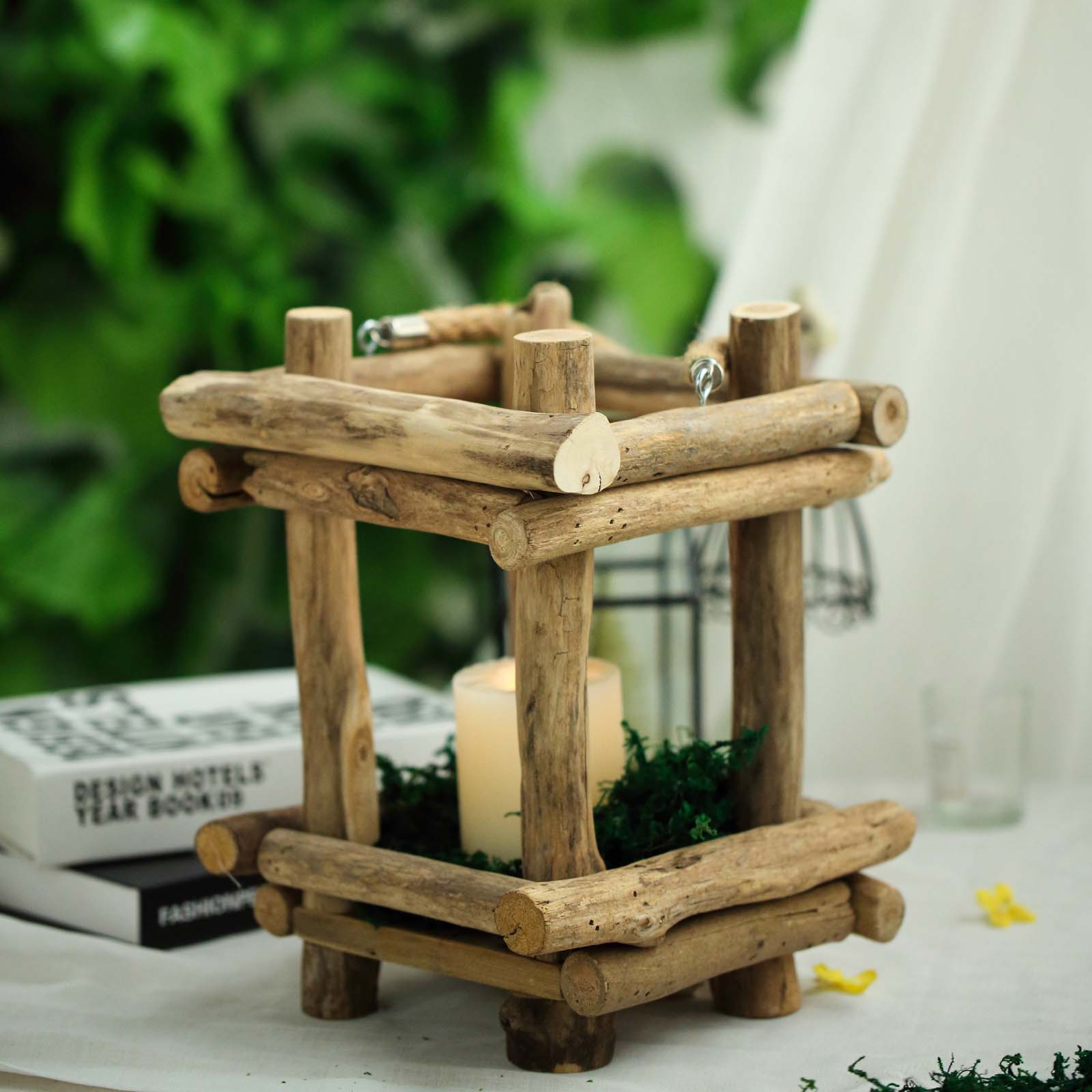 Natural wood candle holder lantern with rope handle