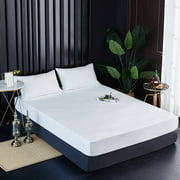 Fitted Sheet Waterproof Mattress Protector Solid Pillow Bed Cover Solid Bedsheets Twin to California King Size