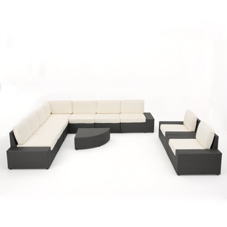 Beach Hill Outdoor 10 Piece Grey Wicker Sectional with White Water Resistant Cushions ()