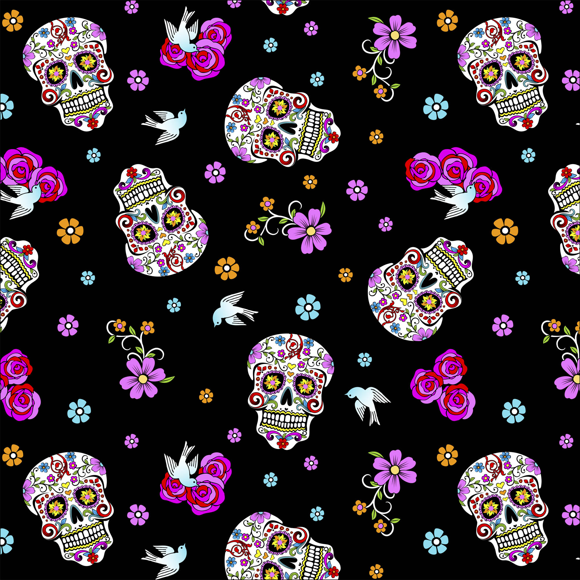 """David Textiles Day Of The Dead With Glitter 44"""" Cotton Fabric By The Yard"""