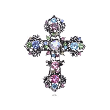 Alilang Antique Silvery Tone Multi Rhinestones Colorful Holy Cross Brooch Pin Antique Silver Tone Brooch
