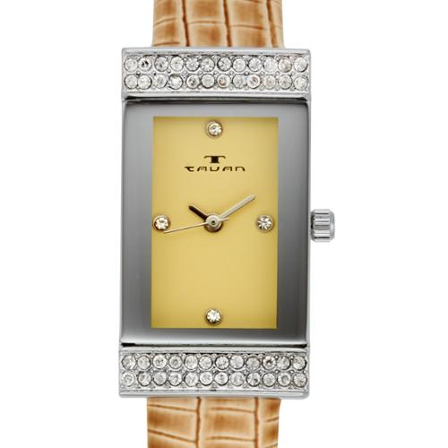 Tavan Women's Sela Austrian Crystal Accented Watch with Beige Leather Strap