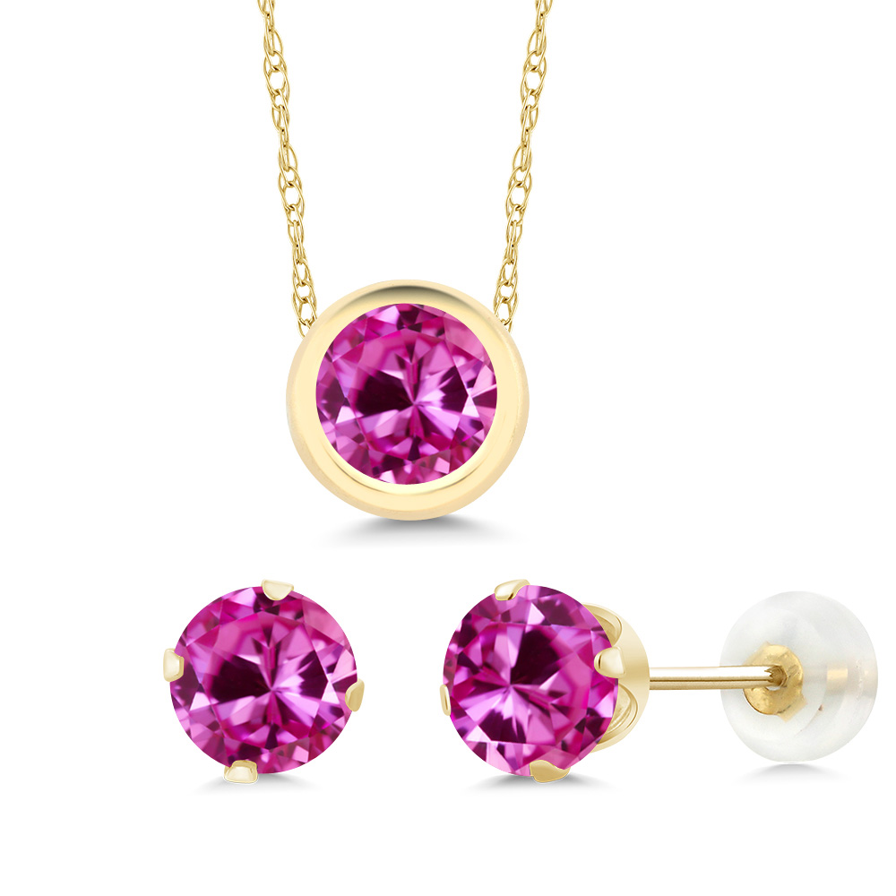 3.00 Ct Round Pink Created Sapphire 14K Yellow Gold Pendant Earrings Set by