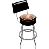 "Trademark United States Marine Corps 40"" Padded Swivel Bar Stool with Back, Chrome"