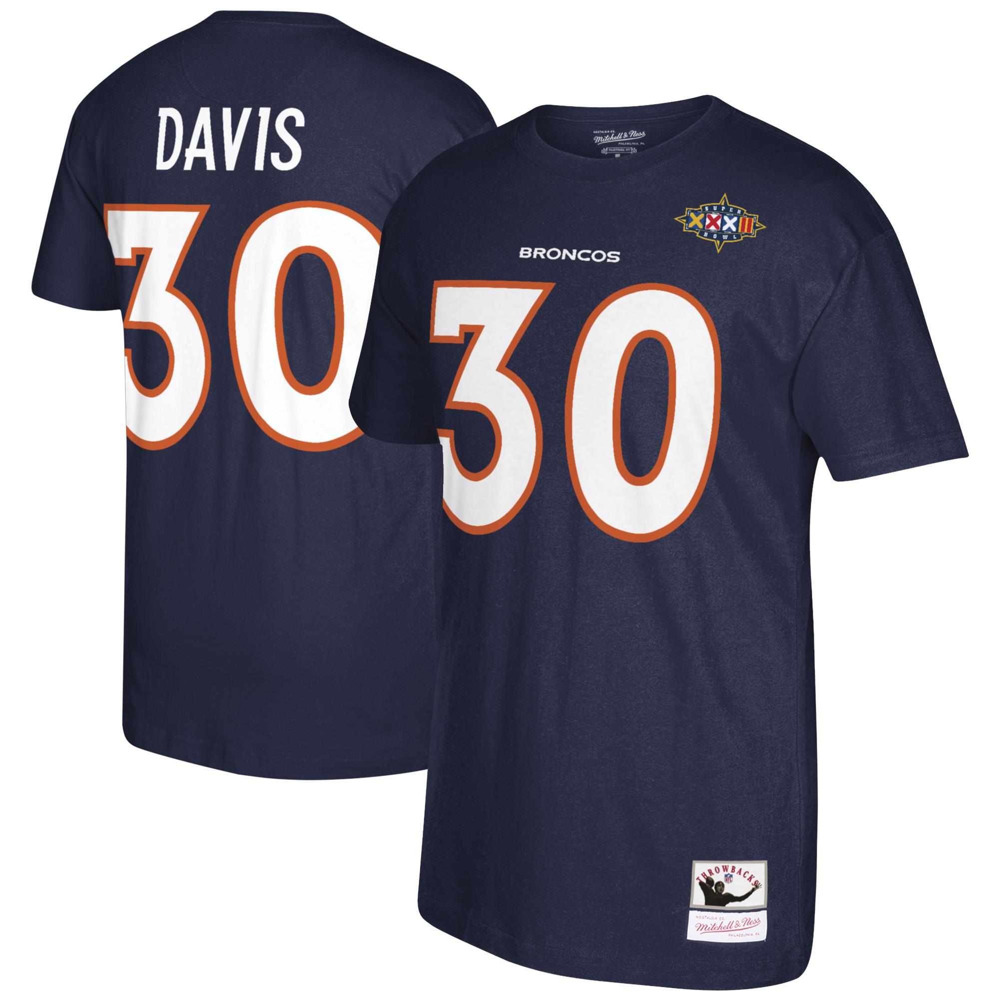 Terrell Davis Denver Broncos Mitchell & Ness Retired Player Name & Number T-Shirt - Navy