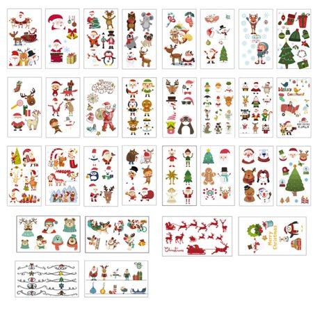 Christmas Temporary Tattoos For Kids Fun Santa Claus Stickers Waterproof Tattoo Stickers For Party Favor(Random Style) ()