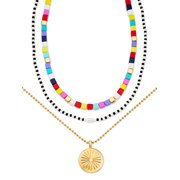 """Scoop 14K Gold Flash-Plated Multi-Color Bead and Faux Pearl Layered Necklace with Coin Pendant, 16""""+ 2"""" Extender"""