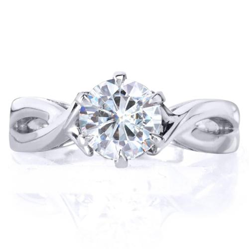 Annello 14k White Gold 1ct 6-prong Round Moissanite Solitaire Engagement Ring Size 7