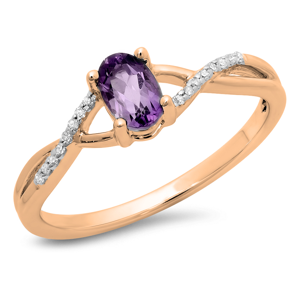 Dazzling Rock 0.50 Carat (ctw) 10K Rose Gold Oval Cut Amethyst & Round Cut White Diamond Ladies Bridal Swirl Split Shank Engagement Pr
