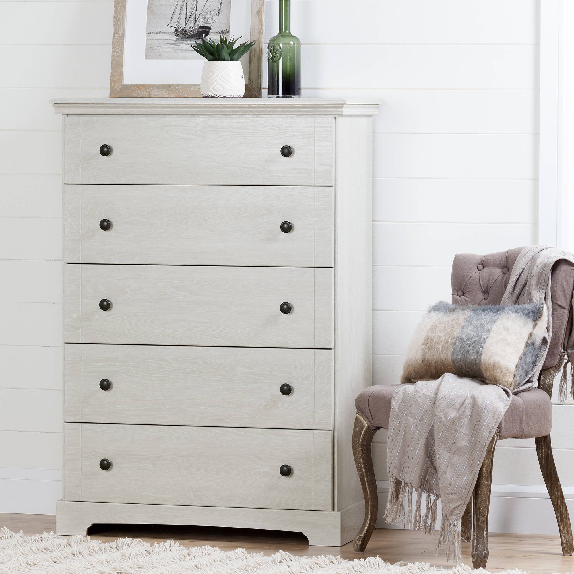 South Shore Avilla 5-Drawer Chest, Winter Oak by South Shore