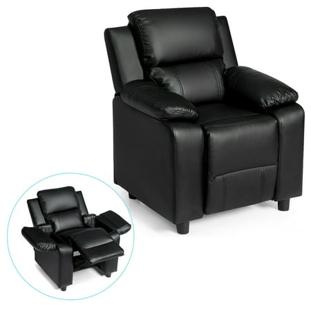 Gymax Deluxe Padded Kids Sofa Armchair Recliner Headrest Children w/ Storage Arm Black