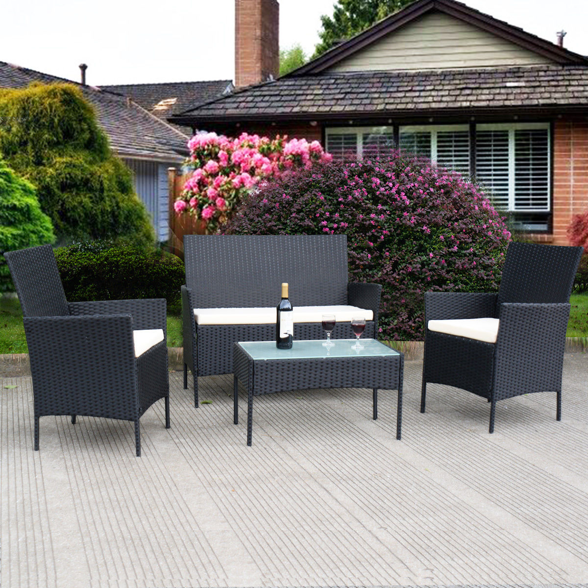Click here to buy Costway 4 PC Outdoor Rattan Furniture Set Loveseat Sofa Cushioned Patio Garden Steel by Costway.