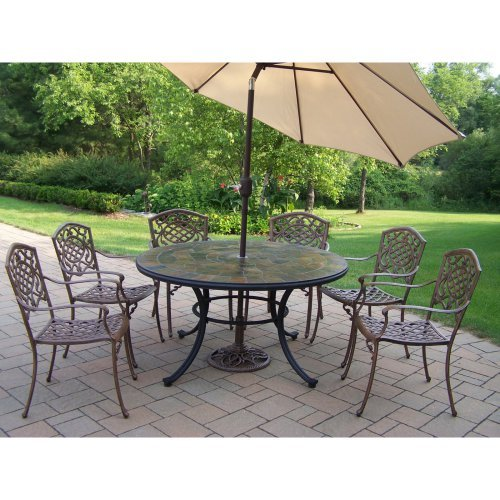 Oakland Living Stone Art Patio Dining Set - Seats 6