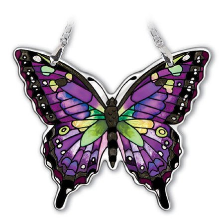 Amia Purple Swallowtail Butterfly Hand painted on Glass Suncatcher 4.75 x 4 -
