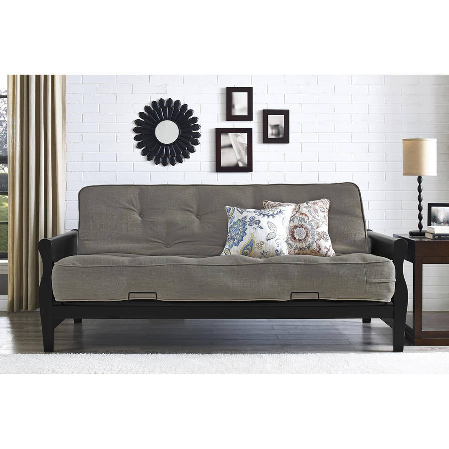 better homes and gardens wood arm futon with 8   coil mattress multiple colors   walmart   better homes and gardens wood arm futon with 8   coil mattress      rh   walmart