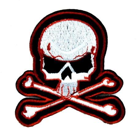 Skull & Crossbones Patch Iron on Applique Punk Rock - Skull Crossbones