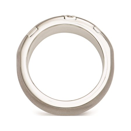 Edward Mirell Titanium & Sterling Silver .10ctw Dia 10mm Ring - image 6 de 7