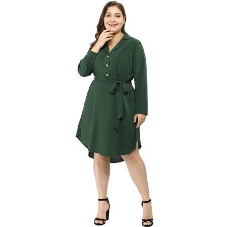 Women\'s Plus Size Retro Button Down Lapel Vintage V Neck Shirt Dress
