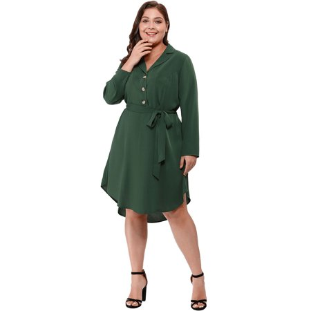 Agnes Orinda Women's Plus Size Button Down Lapel Vintage Shirt Dress Green 2X - image 4 of 6