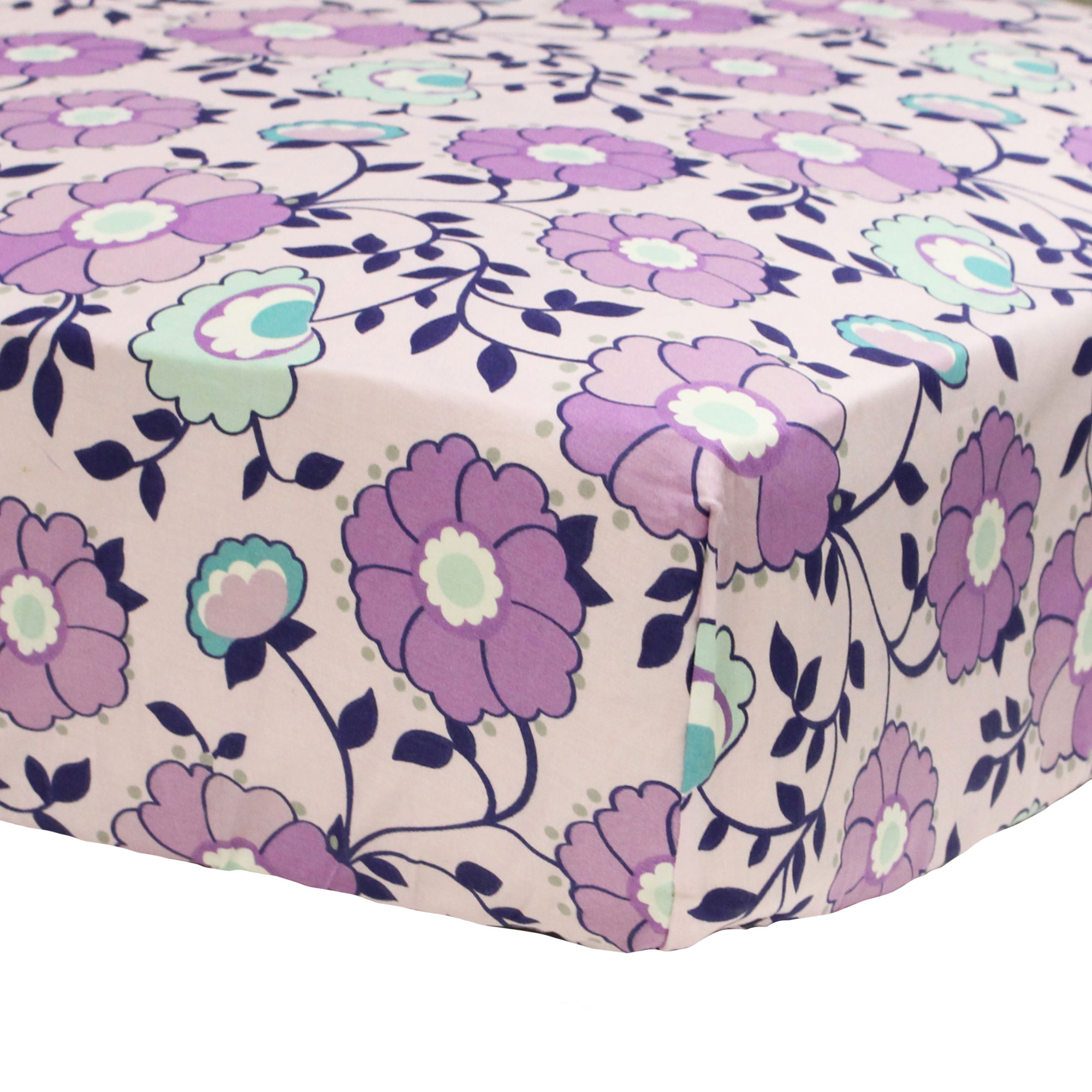 The Peanut Shell Fitted Crib Sheet - Zoe Crib Bedding Collection - Purple Floral Design