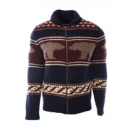 Tommy Hilfiger NEW Blue Navy Mens Size Large L Full Zip Wool Grylls Sweater $299